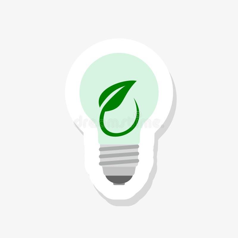 Salvar o ícone da etiqueta do conceito do eco da energia para a proteção ambiental verde da ecologia ilustração stock