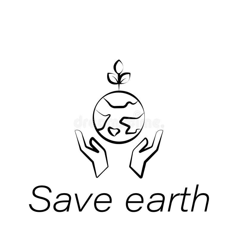 Salvar o ícone da tração da mão da terra Elemento de cultivar ícones da ilustração Os sinais e os símbolos podem ser usados para  ilustração royalty free