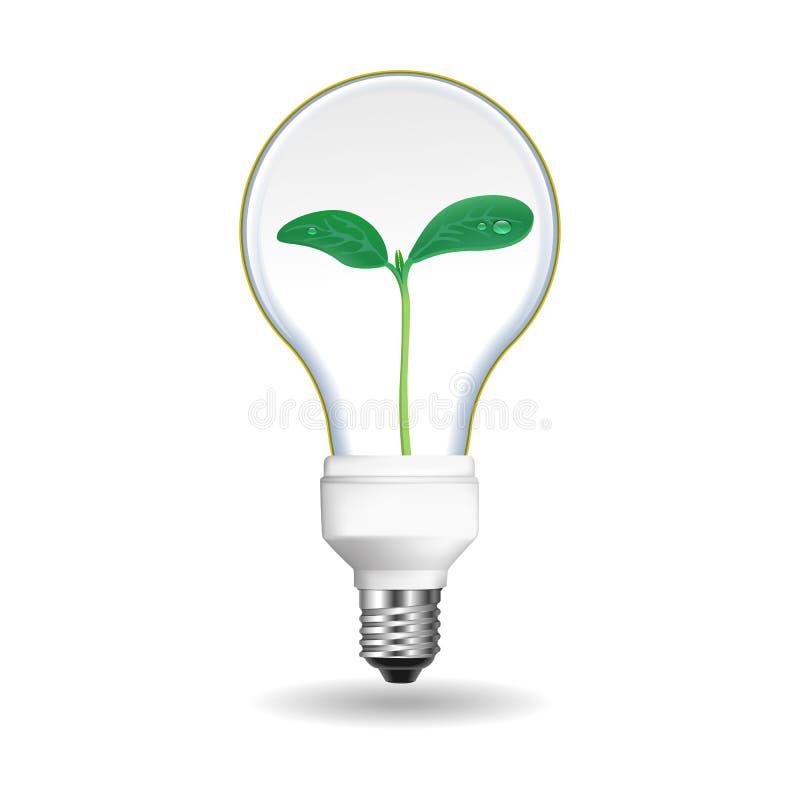 Salvar o ícone do bulbo da energia, estilo realístico ilustração stock