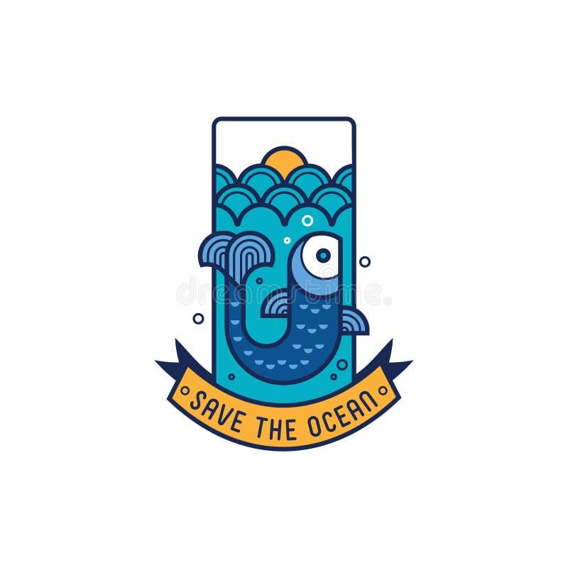 Salvar o ícone do oceano com peixes fotos de stock