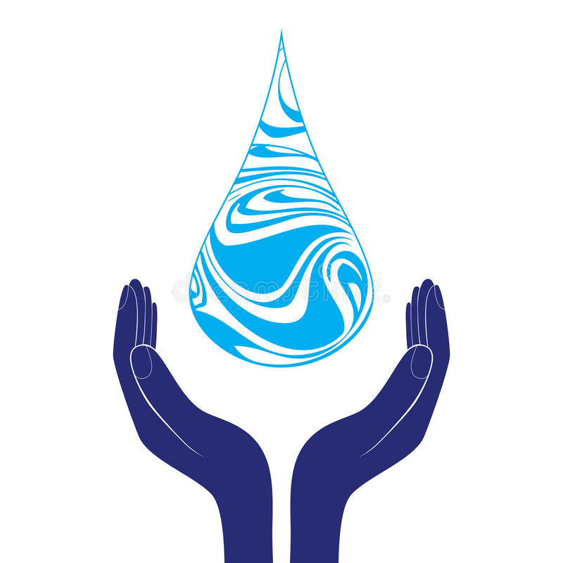 Salvar o ícone do sinal da água A mão guarda o símbolo da gota da água Símbolo da proteção ambiental Vetor ilustração stock