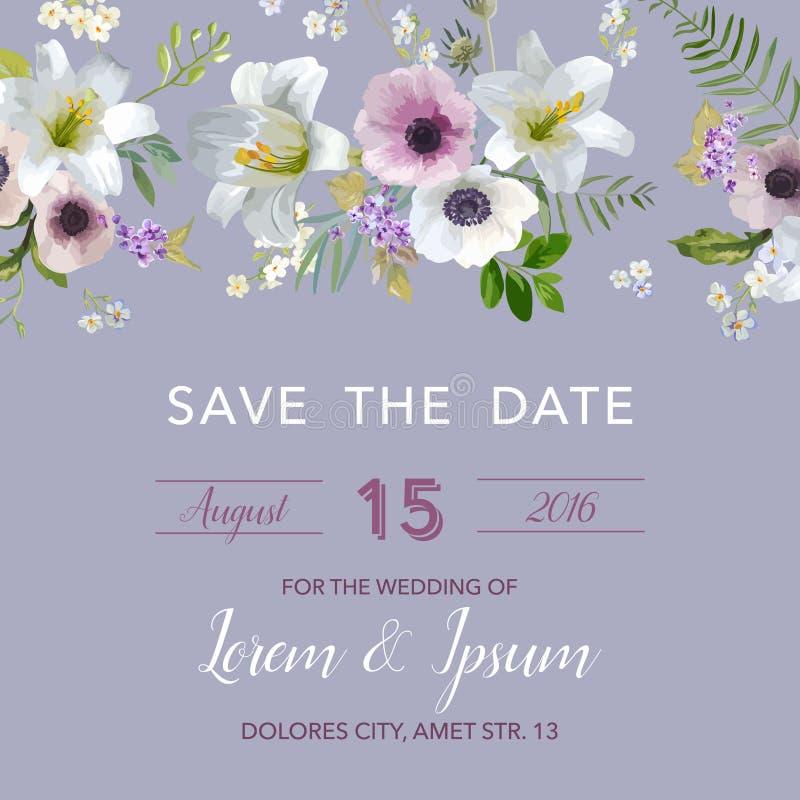 Salvar o cartão de casamento da data Lírio e Anemone Flowers ilustração do vetor