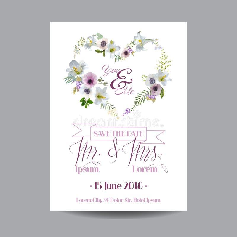 Salvar o cartão de casamento da data Lírio e Anemone Flowers ilustração royalty free