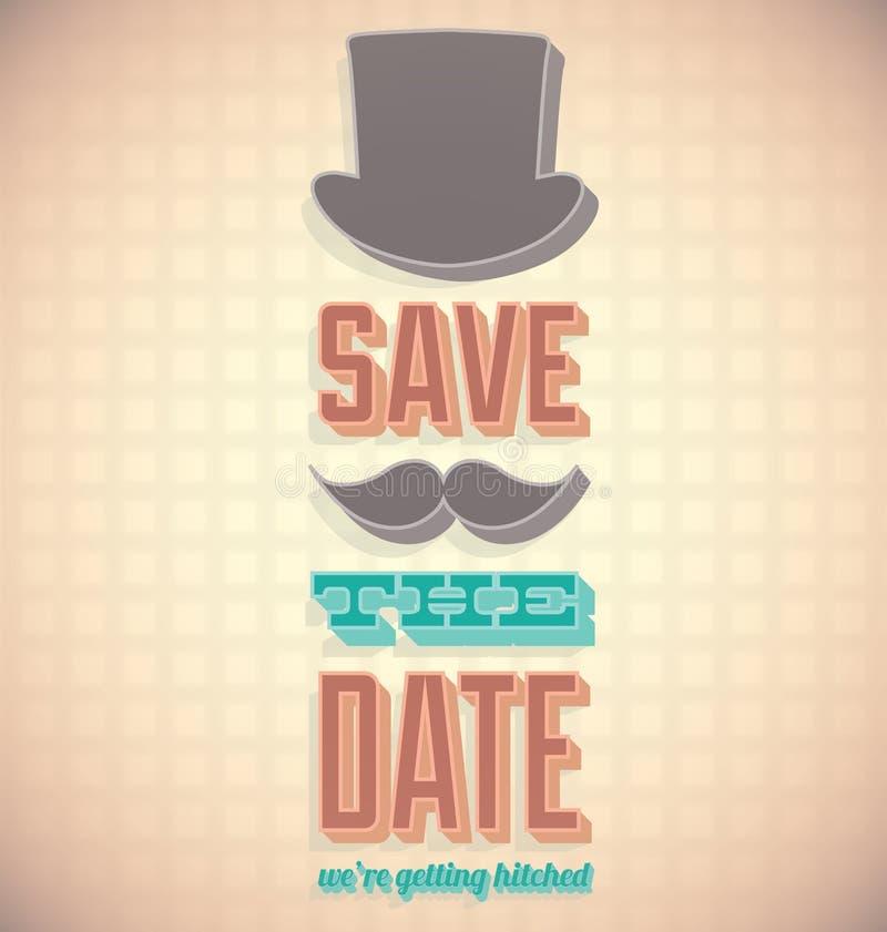 Salvar o cartão de data com chapéu alto ilustração stock