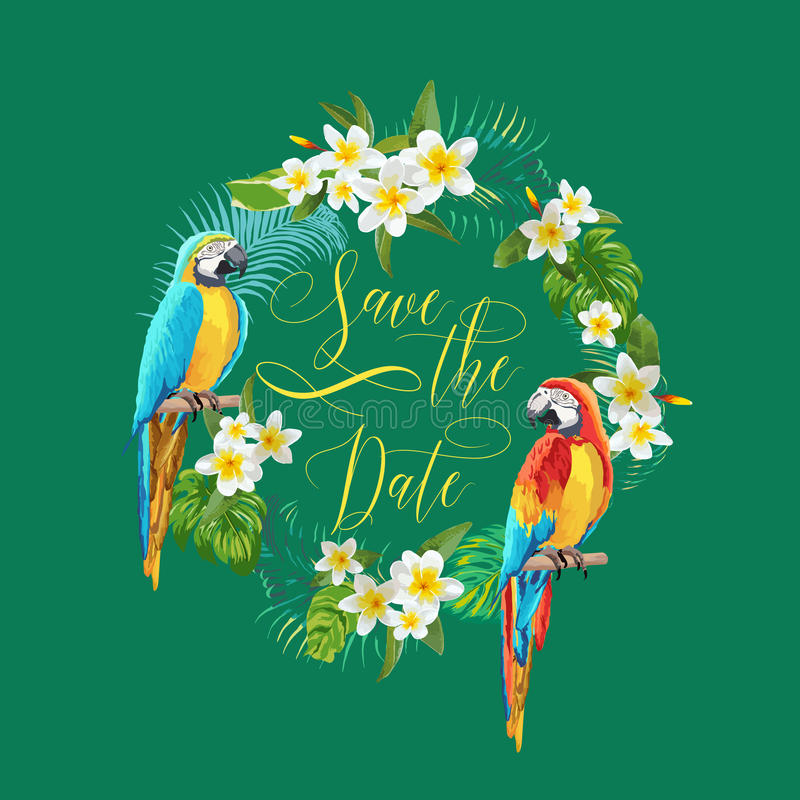 Salvar o cartão tropical das flores e dos pássaros da data - para o casamento, convite ilustração stock