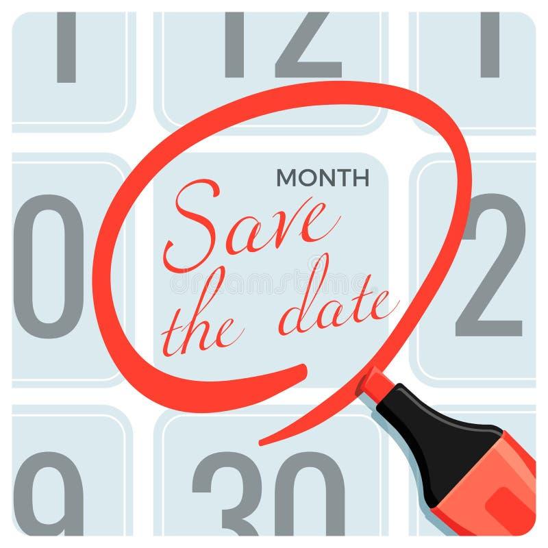 Salvar o cartaz da data com marca vermelha do círculo no calendário ilustração do vetor