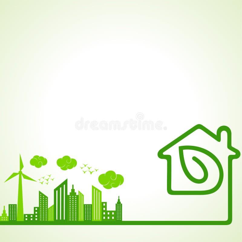 Salvar o conceito da natureza com Ecocity ilustração royalty free