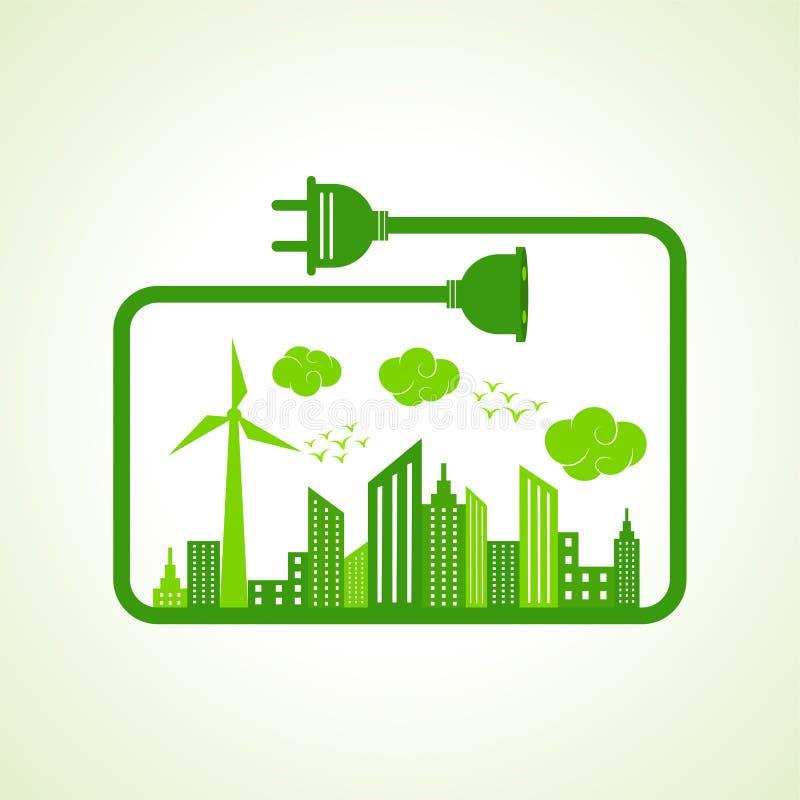 Salvar o conceito da natureza com Ecocity ilustração do vetor