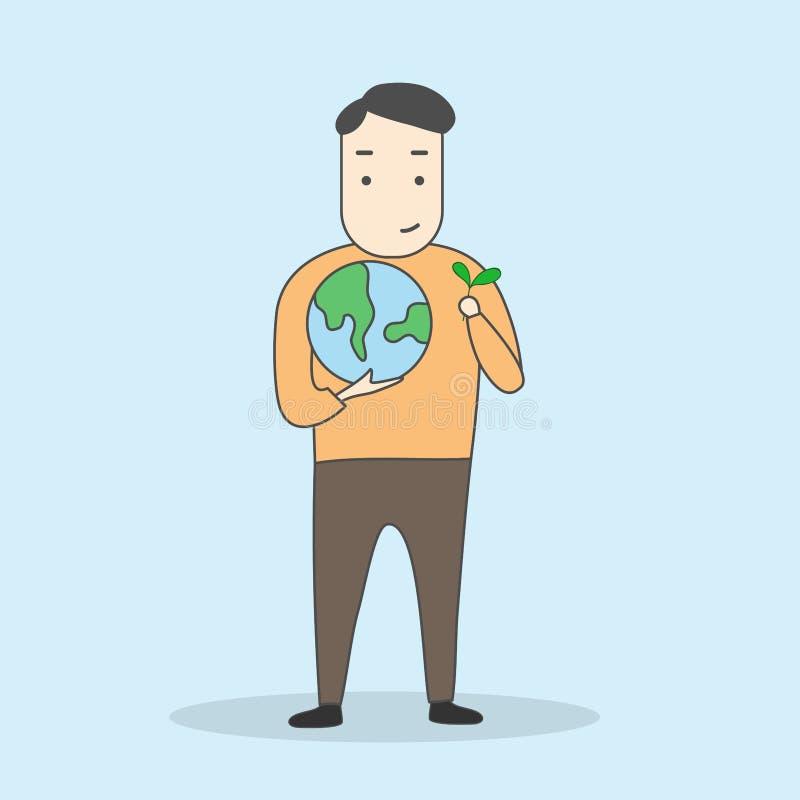 Salvar o conceito do mundo e do ambiente homem que guarda a terra e a planta ilustração do vetor