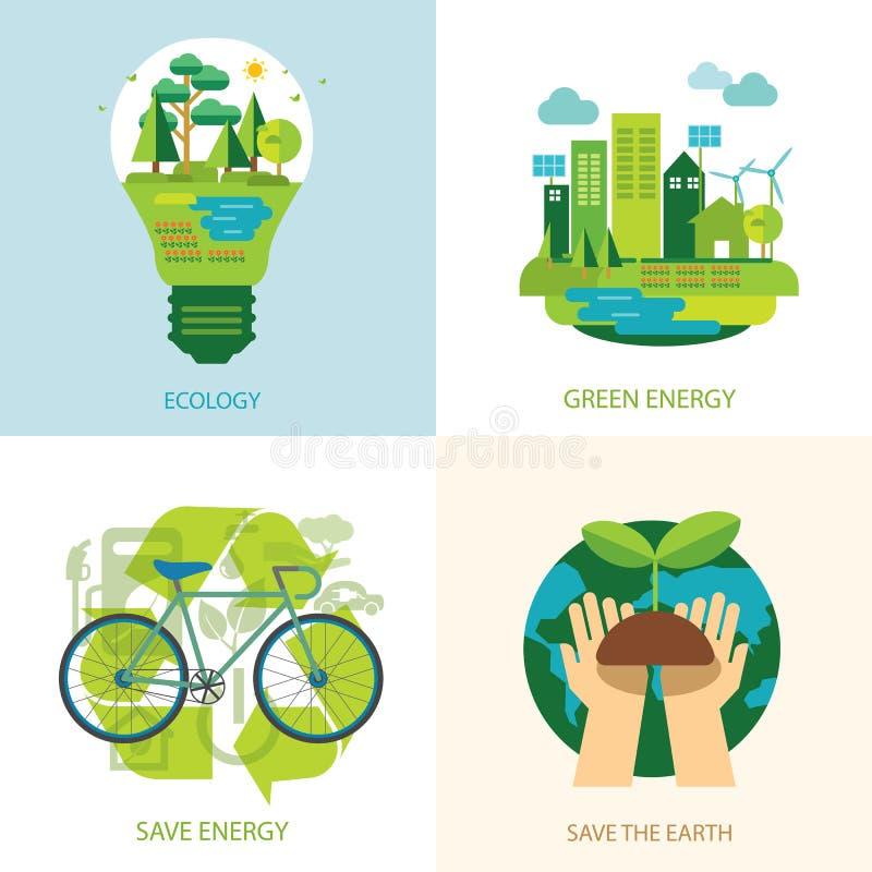 Salvar o conceito do mundo e da energia limpa ilustração stock