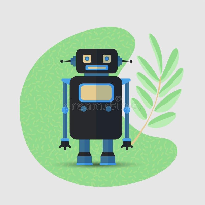 Salvar o conceito do vetor dos desenhos animados do planeta com rob?, AI e ramo verde das folhas Conceito do rob? e da natureza,  ilustração do vetor