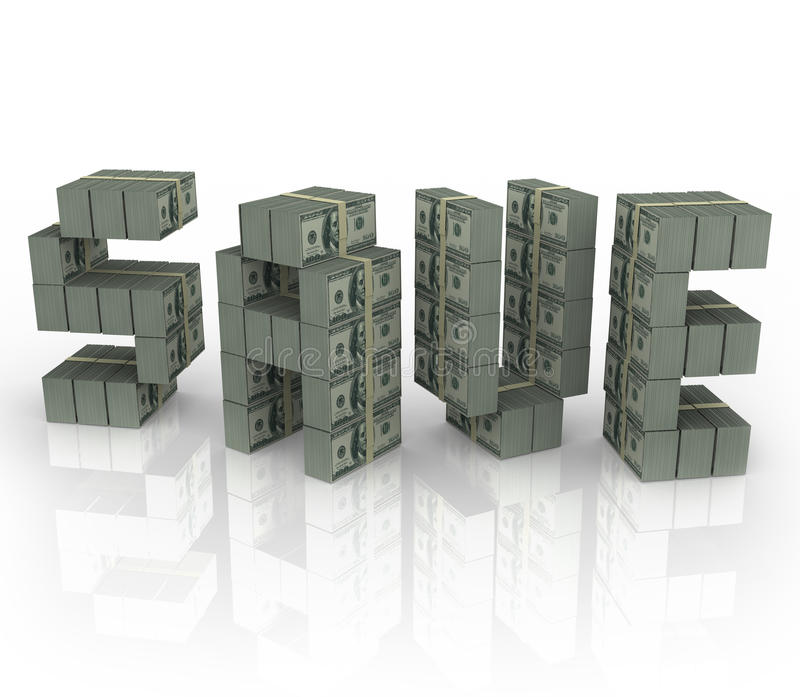 Salvar o dinheiro do disconto da venda das economias dos pacotes das pilhas do dinheiro da palavra ilustração stock
