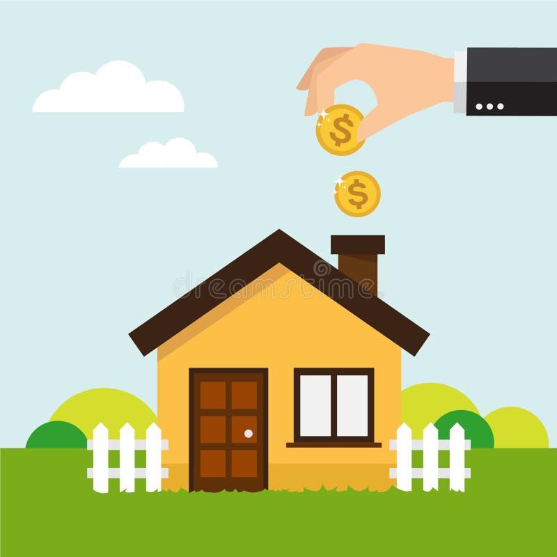 Salvar o dinheiro para a casa ilustração stock