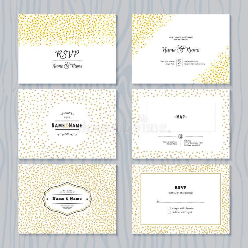 Salvar o grupo de cartões da data com beiras dos confetes do ouro ilustração royalty free
