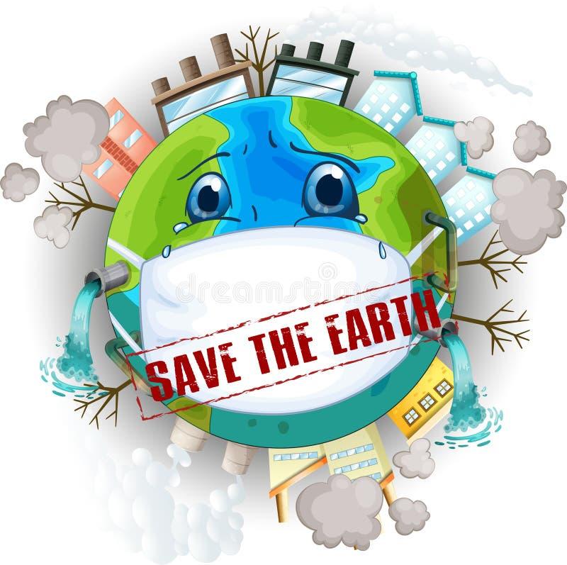 Salvar o logotipo da terra ilustração royalty free