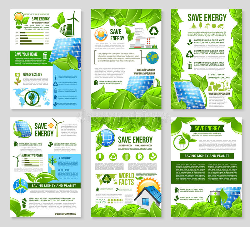 Salvar o molde do cartaz da energia para o projeto da ecologia ilustração royalty free