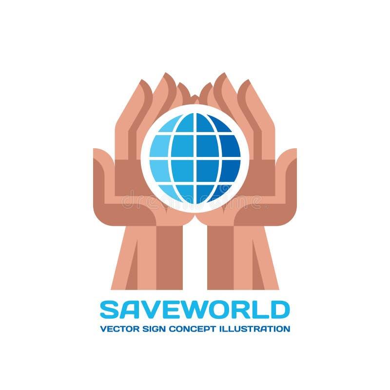 Salvar o mundo - vector a ilustração do conceito do molde do logotipo no estilo liso O globo assina dentro as mãos humanas abstra ilustração royalty free