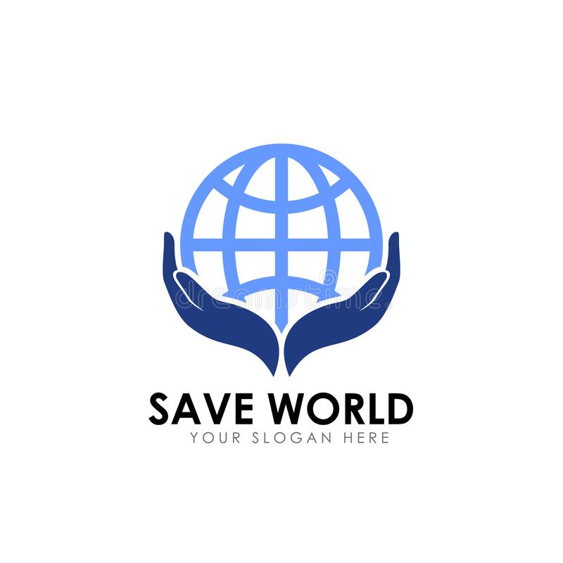 Salvar o projeto do logotipo do mundo molde do projeto do logotipo do cuidado da terra ilustração royalty free