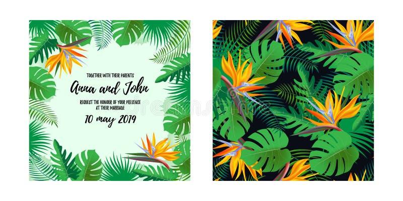 Salvar o texto do convite do casamento da data, o fundo com as flores exóticas tropicais e as folhas O teste padrão sem emenda pa ilustração do vetor