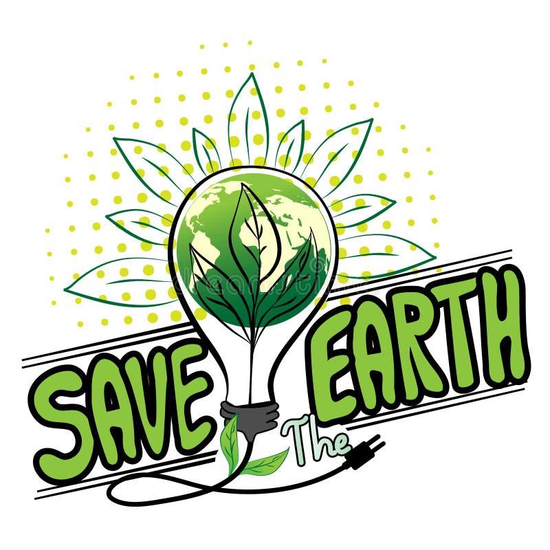 Salvar o vetor de Logo Design da terra ilustração stock