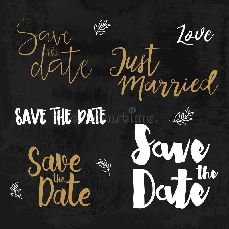 Salvar os logotipos da data Convite do casamento com rotulação tirada mão Elementos tipográficos do projeto do vintage ilustração do vetor