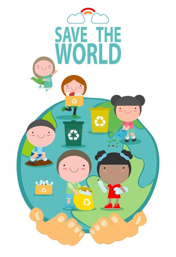 Salvar a terra, salvar o mundo, planeta das economias, reciclando, conceito da ecologia, personagem de banda desenhada bonito da  ilustração do vetor