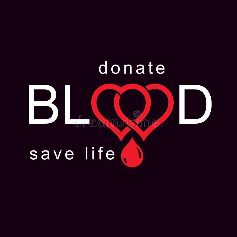 Salvar a vida e doe o sangue, mal conceptual do vetor da reabilitação ilustração stock