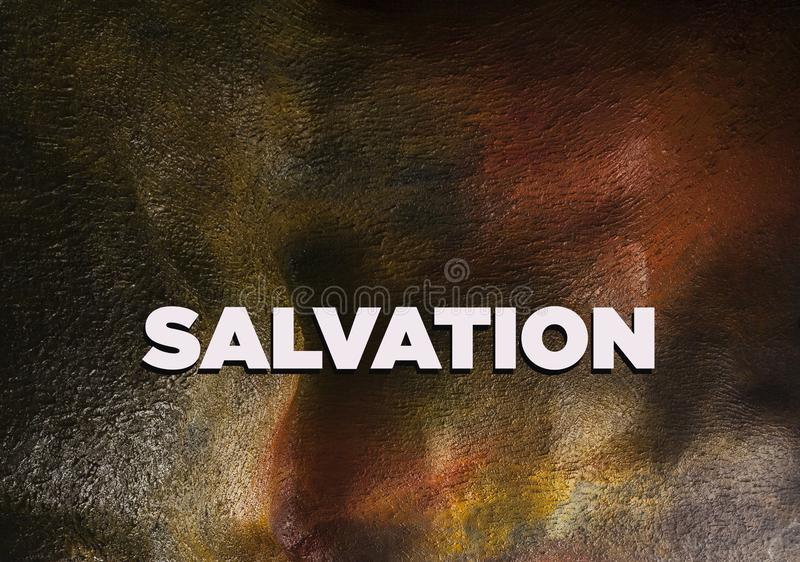 Salvation in Christian religion. Is being saved or protected from harm or being saved or delivered from a dire situation. In religion, salvation is stated as royalty free illustration