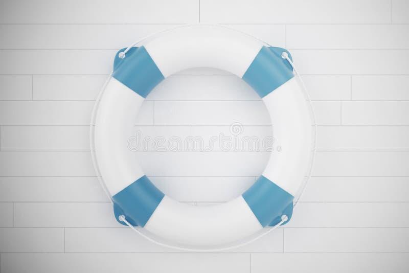 Salvavidas azul en la pared de madera blanca ilustración 3D fotos de archivo libres de regalías