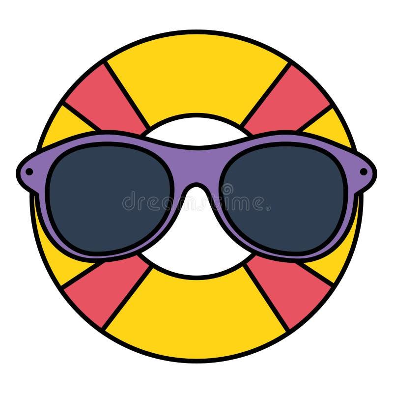Salvavidas del flotador con el accesorio del verano de las gafas de sol libre illustration