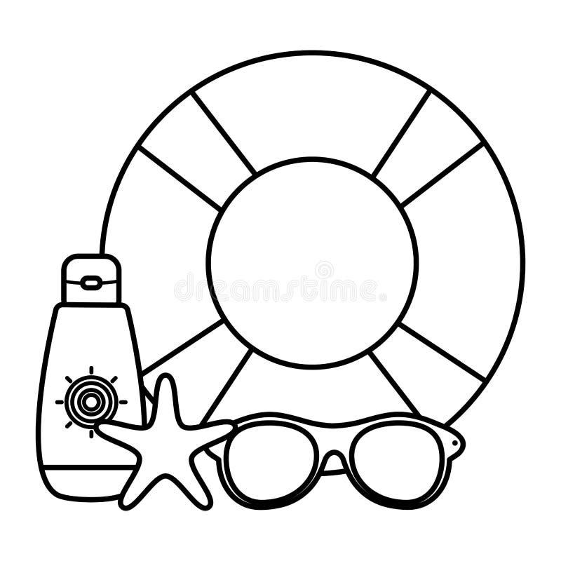 Salvavidas del flotador con el accesorio del verano de las gafas de sol ilustración del vector