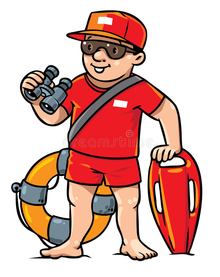 Salvavidas divertido Ejemplo de los niños stock de ilustración