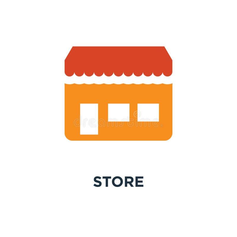 Salve el icono diseño del símbolo del concepto que hace compras, escaparate del edificio ilustración del vector