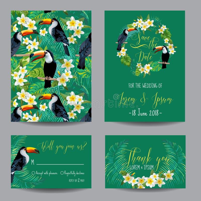 Salve la tarjeta de fecha Flores y pájaros tropicales ilustración del vector