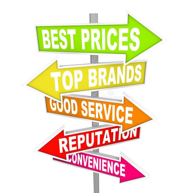 Salve las muestras de la flecha del anuncio - factores de venta stock de ilustración