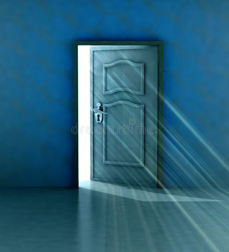 Salvezza del dio dietro la parete blu e la porta aperta royalty illustrazione gratis