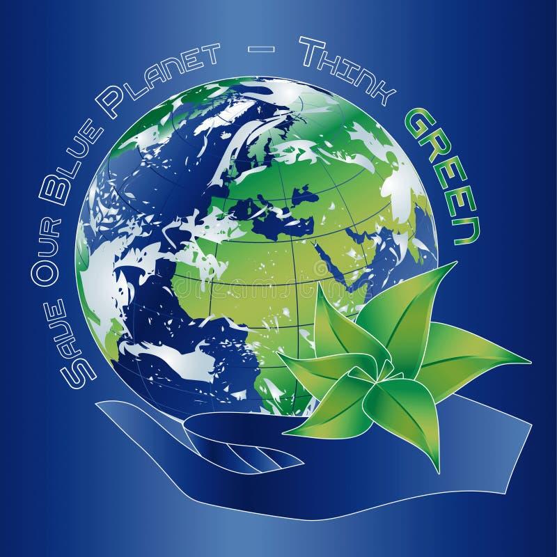 Salvi il nostro pianeta blu illustrazione di stock