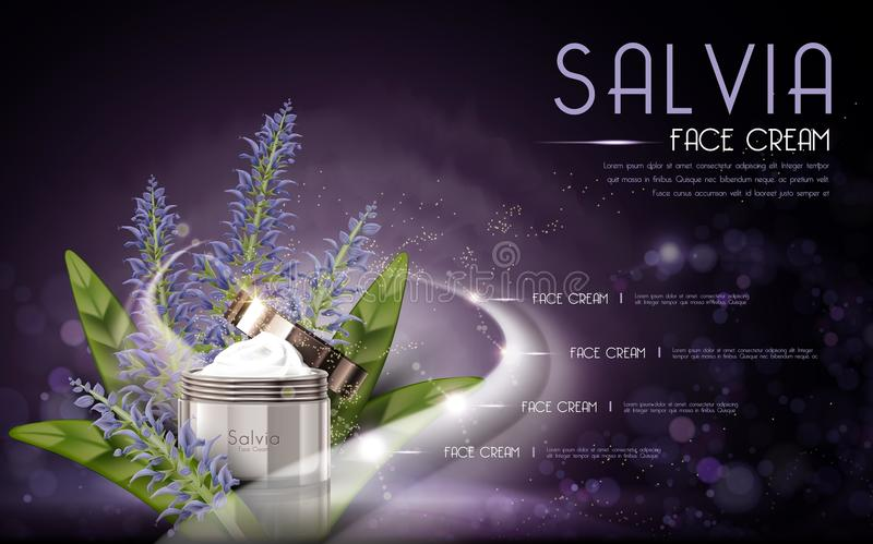 Salvia cosmetic face cream. Contained in bottle, purple background, 3D illustration stock illustration