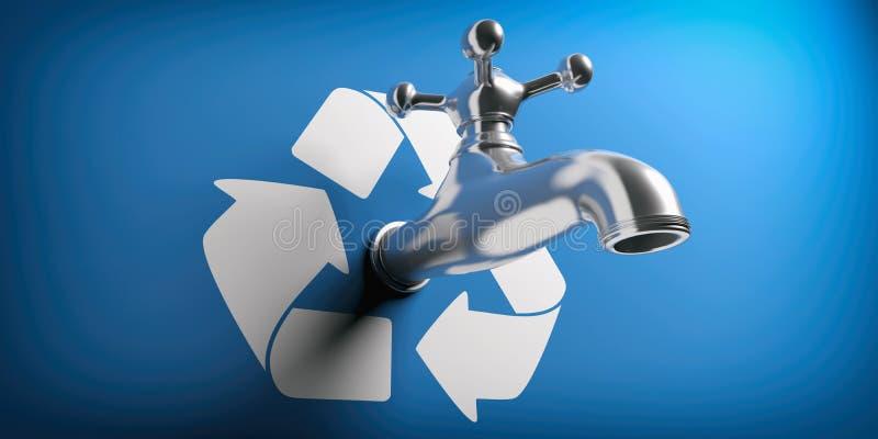 Salvo acqua Il rubinetto di acqua su fondo blu con ricicla il simbolo illustrazione 3D illustrazione vettoriale
