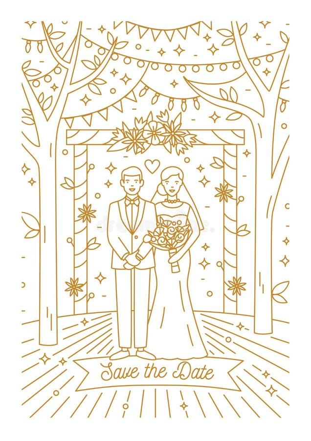 Salvo il modello della carta di data con la sposa e lo sposo estratti con le linee di contorno Invito di cerimonia di nozze con f royalty illustrazione gratis