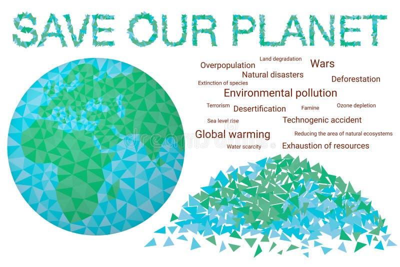 Salvo il nostro pianeta - giorno ambientale di concetto royalty illustrazione gratis