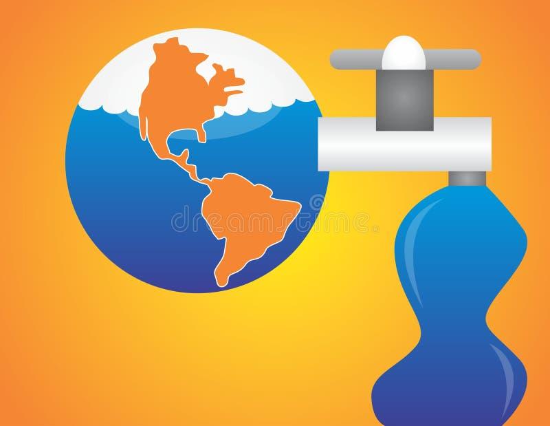 Salvo l'acqua salvi il mondo royalty illustrazione gratis