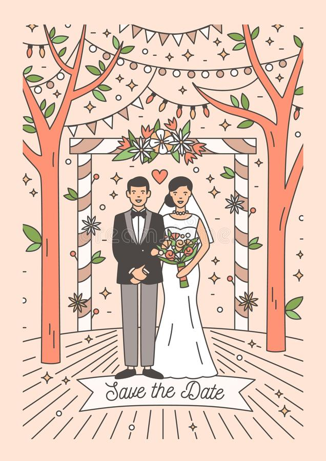 Salvo la plantilla de la tarjeta de fecha con los pares felices del recién casado Invitación del banquete de boda con la novia y  ilustración del vector