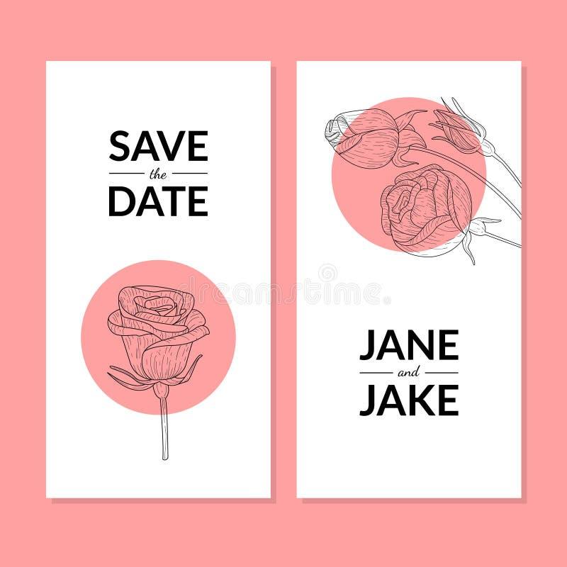 Salvo la plantilla de la tarjeta de la invitación de la boda de la fecha con el ejemplo de Rose Flower Hand Drawn Vector stock de ilustración