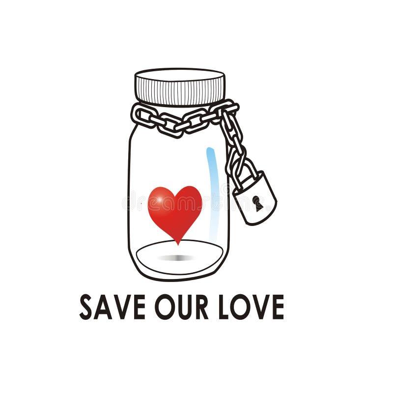 Salvo nosso ícone do amor frasco com coração dentro do vetor ilustração royalty free