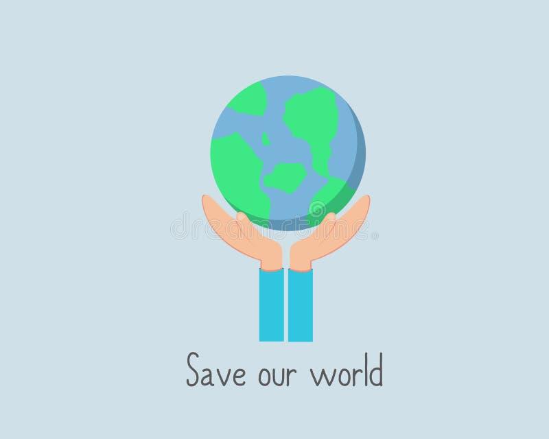 Salvo nosso mundo antes que estiver demasiado atrasado ilustração stock