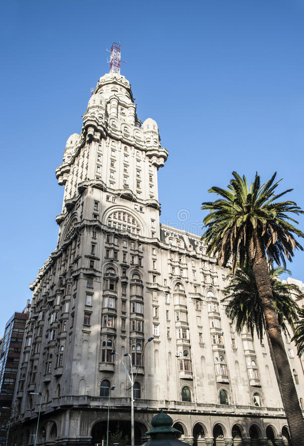 Salvo Palace in Montevideo, a national icon of Uruguay. Salvo Palace, Independence Square, a national icon, Montevideo, Uruguay royalty free stock photography