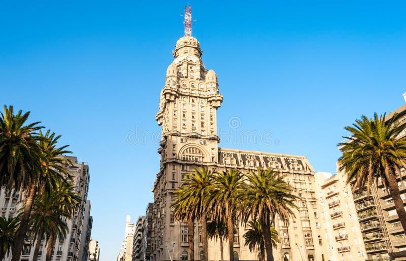 Salvo Palace, quadrato di indipendenza, Montevideo, Uruguay fotografia stock libera da diritti
