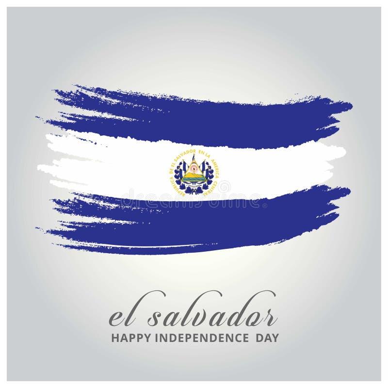 Salwador dzień niepodległości Flaga malująca z muśnięciem z pai ilustracja wektor