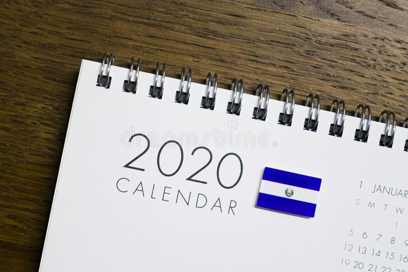 Salwador flaga na 2020 kalendarzu royalty ilustracja